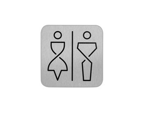 Bordje RVS toilet gender neutraal  anti fingerprint proof 12x12cm