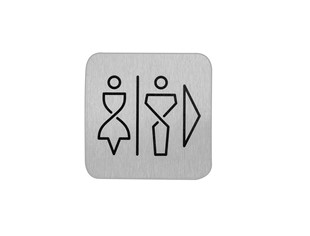 Bordje RVS heren en dames toilet rechts  anti fingerprint proof 12x12cm