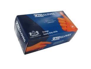 CaluGloves Orange heavy duty nitrile  disposable handschoenen maat M 100st